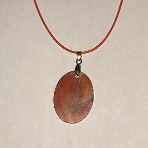 Orange necklace made of resin